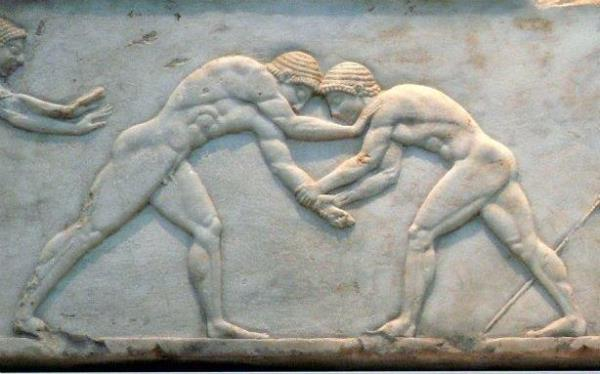 Stone Carving of Wrestlers