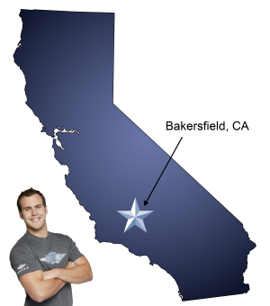 The golden Bakersfield sign welcomes you home during your move.